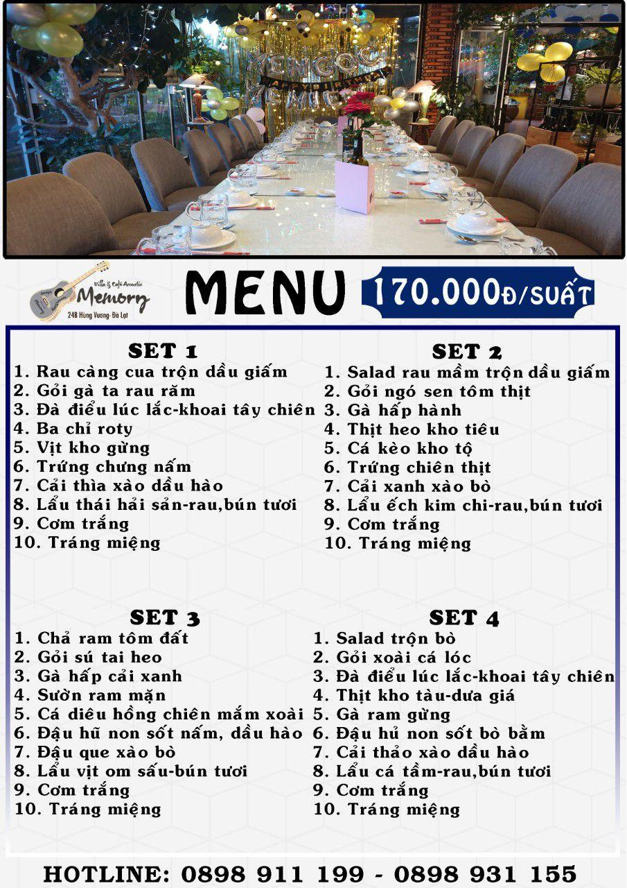 Menu nhà hàng cơm đoàn ở Đà Lạt set cơm đoàn 2021 giá 170k