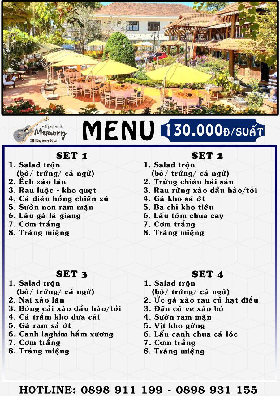 Menu nhà hàng cơm đoàn ở Đà Lạt set cơm đoàn 2021 giá 130k