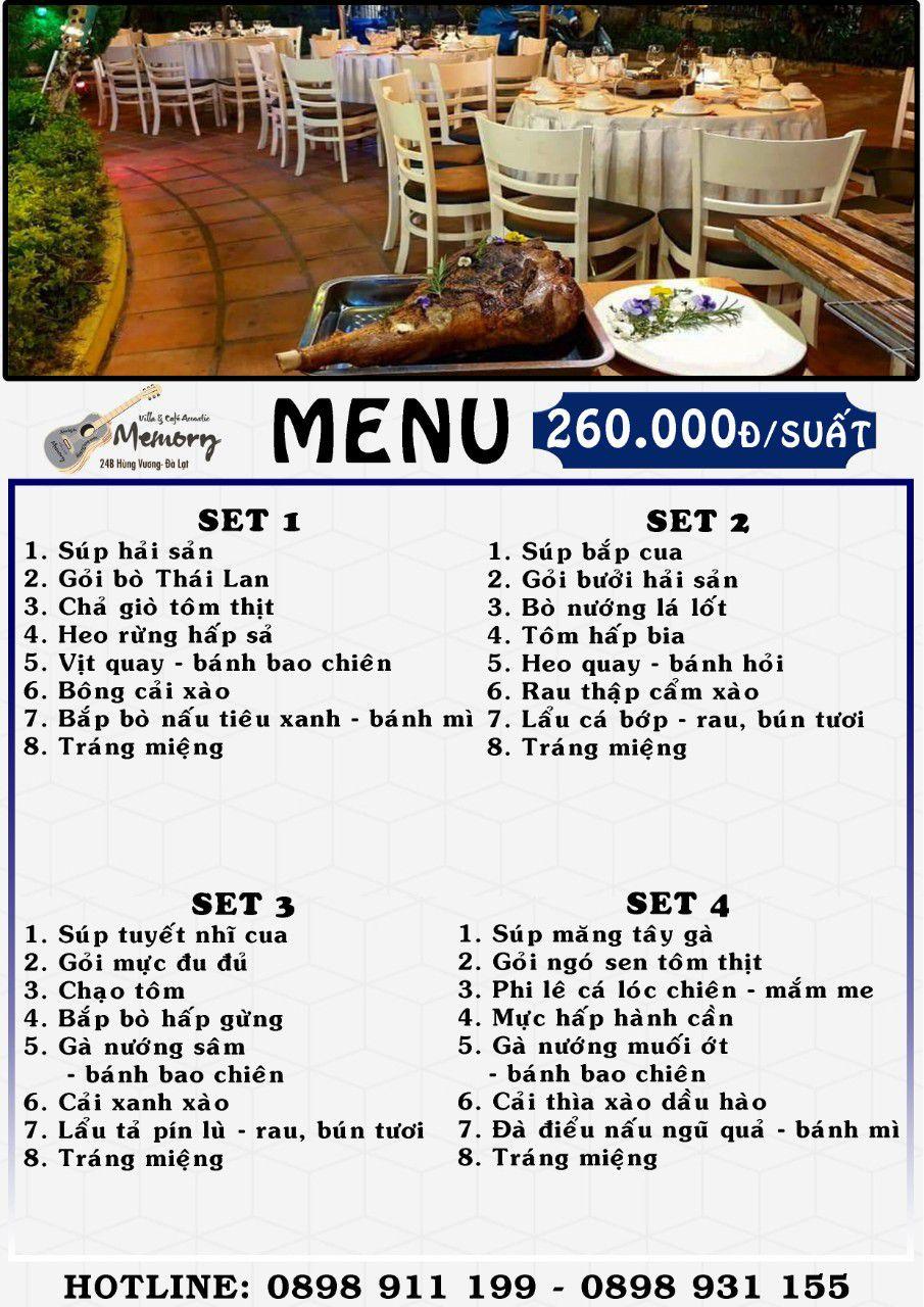 Menu nhà hàng cơm đoàn ở Đà Lạt set cơm đoàn 2021 giá 260k