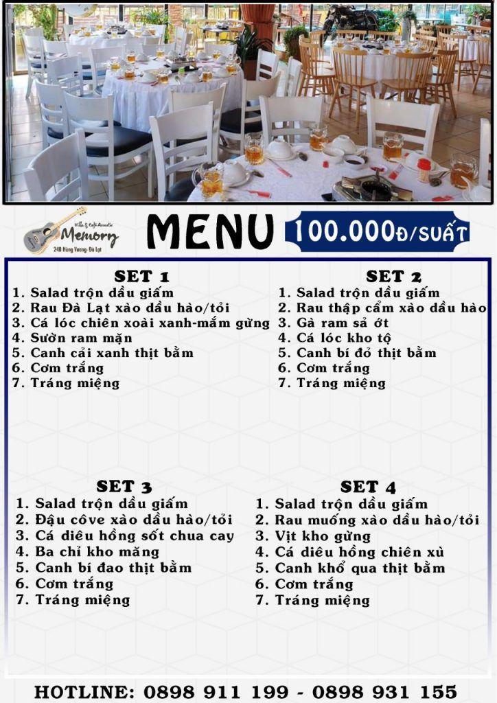 Menu nhà hàng cơm đoàn ở Đà Lạt set 100.000 đồng/suất/người